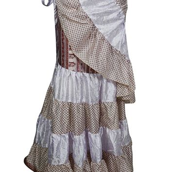 Womens Long Wrap Skirt Ruffled Edges Upcycled Silk Tiered Bellydance Skirts: Amazon.ca: Clothing & Accessories
