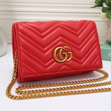 One-nice™ Gucci Women Leather Metal Chain Crossbody Shoulder Bag Satchel Red I