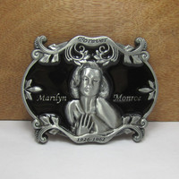 Marilyn Monroe Silver Black Metal Belt Buckle