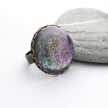 Shattered Rainbow - Hand Painted Rainbow Ring - Iridescent Glitter Ring - Nail Polish Jewelry Style