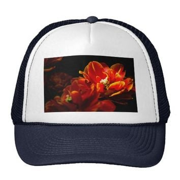 Red tulips dark background trucker hat
