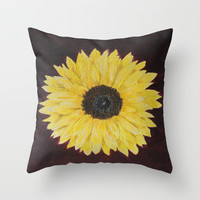 Sunflower Throw Pillow by AMFcreations