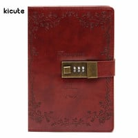 B6 Vintage Red Rose Leather Wired Journal Diary Blank Paper Notebook With Lock Sketchbook Notepad Gift Office School Supplies