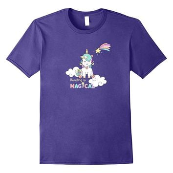 Teacher / librarian Reading is Magic unicorn T shirt