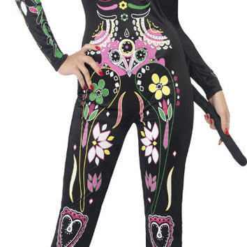 Day of the Dead Sugar Skull Cat Adult Costume - Small (6-8)