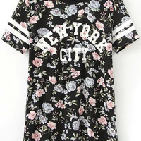 Floral Printed Shirt with New York City Graphic Print
