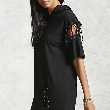 Lace-Up Hooded Dress
