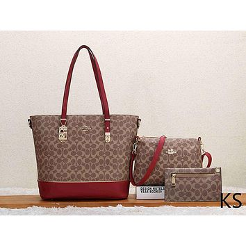 COACH Woman Fashion Leather Tote Handbag Crossbody Purse Wallet Set Three Piece