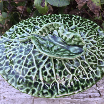 vintage Olfaire pottery green cabbage dish with lid, vintage Olfaire pottery, vintage cabbage dishes from portugal, green cabbage candy dish