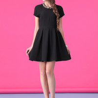 Short Sleeve Pleated Mini Dress