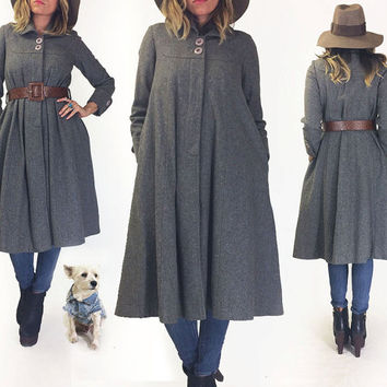 Vintage 1960s Grey Japanese TENT Swing Wool Coat || Charcoal Gray Swagger Pyramid Winter Coat || Size XS to S