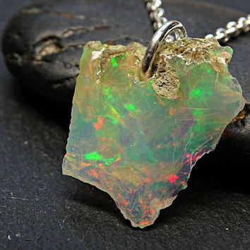 raw opal necklace silver, welo opal pendant silver, rough opal slice, mens gift for women, unique opal jewelry, October birthstone opal