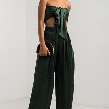 AKIRA High Rise Satin Wide Leg Pants in Hunter Green