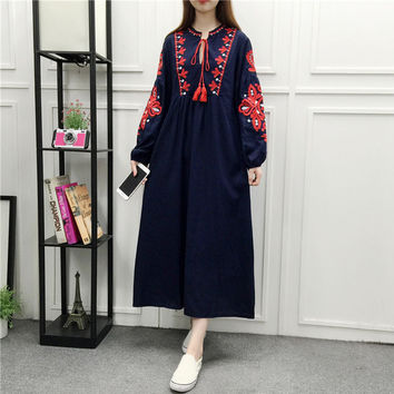 National style long sleeves long section embroidery lace loose A word lantern sleeves dress