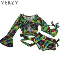 Women summer swimming wear lacing push up bikinis with blouse print floral