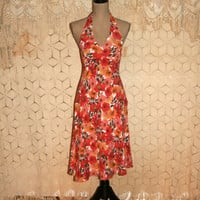 Orange Floral Dress Floral Halter Dress Summer Dress Floral Print Dress Floral Boho Dress Ann Taylor Size 4 Size 6 Small Womens Clothing