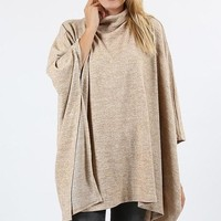 high neck sweater poncho
