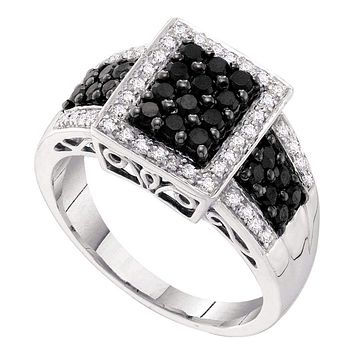 14kt White Gold Women's Round Black Color Enhanced Diamond Rectangle Cluster Ring 5/8 Cttw - FREE Shipping (US/CAN)