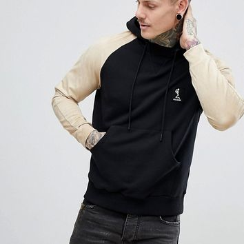 Religion Hoodie With Contrast Faux Suede Sleeve at asos.com