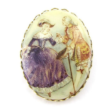 Vintage Porcelain Cameo Brooch Pin (Colonial Courting Couple Portrait, Romantic Love Jewelry, 1970s Victorian Revival Costume Jewelry)