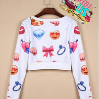 Emoji Crop Top Sweaters