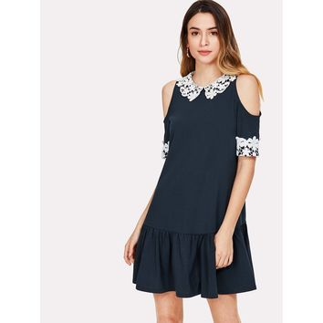 Lace Applique Cold Shoulder Drop Waist Dress