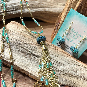 Turquoise Tassel Necklace and Earring set, Tassel Jewelry, Brass Necklace, Seed bead Necklace, Boho Necklace, Handmade Jewelry