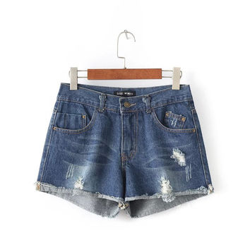 Summer Women's Fashion High Rise Plus Size Rinsed Denim Ripped Holes Denim Shorts [6034178881]