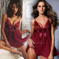 Hot New Sexy Women Lingerie Dress Intimate Babydoll Sleepwear Fashion Nightwear Dress + G-string AP = 1652436548