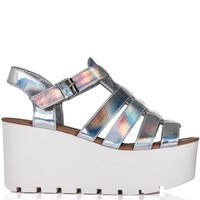 SURF Cut Out Flatform Platform Sandal Shoes - Silver Hologram
