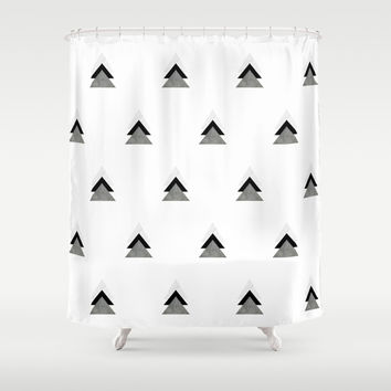 Arrows Collages Monochrome Pattern Shower Curtain by byjwp