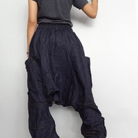 Drop crotch Long Trouser, OOAK Unisex Patchwork Baggy pants, denim lightweight (pants-P1).