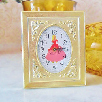 Vintage Cinderella Clock Wind Up Alarm Disney Princess Decor Brass Picture Frame Works 1960s Disneyana Cinderella Decor