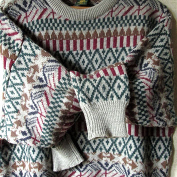 Oversized Sweater Vintage ski pullover patterned crewneck hipster sweater grey red green brown unisex boyfriend mens extra large