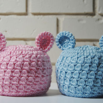 Twins Hospital Hats, Newborn Twins Photo Props, Bear Ears Hats, Infant Crochet Hats, Twin Hat Sets, Pink and blue, Twin Baby Shower Gift