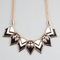 Full Tilt Chevron Triangle Statement Necklace Black/White One Size For Women 23449212501