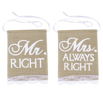 2pcs Mr Right Mrs Always Right Chair Banners Set Rustic Burlap Chair Signs With Lace Fringe Photo Booth Props Vintage Wedding Party Decoration (Khaki)