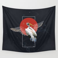 Cranes Japonese Kimono Wall Tapestry by lostanaw