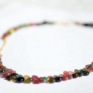 Tourmaline Briolettes with Gold Filled Chain Necklace