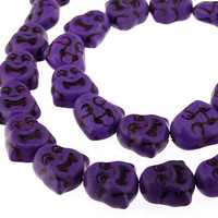 Carved Double Buddha Purple Turquoise Gemstone Beads 27Beads 14mm x15mm One Strand