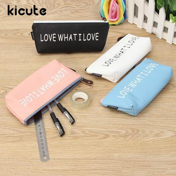 Kicute 1pc Triangle Candy Color Love What I Love PU Leather Pencil Case Bag Waterproof Storage Cosmetic Bag Stationery