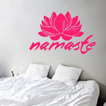 Wall Decals Lotus Flower Namaste Words Indian Amulet Yoga Gym Home Vinyl Decal Sticker Kids Nursery Baby Room Decor kk621