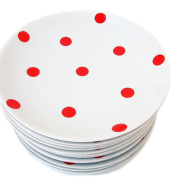 French vintage LIMOGES porcelain dinner plate with with red polka dots. Set of 4. Shabby chic