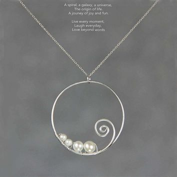 Sterling silver fresh water pearl scroll pendant necklace Free US Shipping handmade anni designs