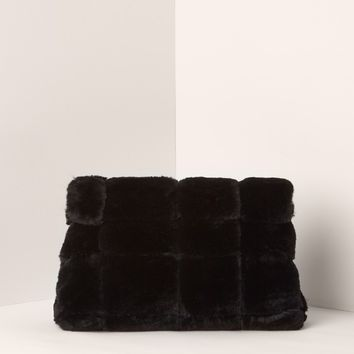 Missguided - Plush Fur Cuddle Clutch Bag Black