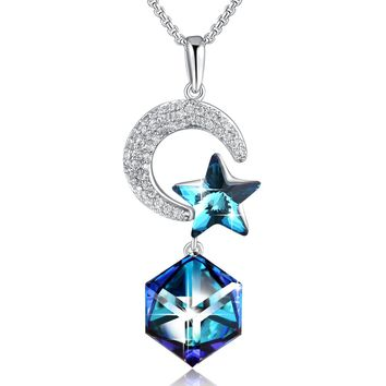 Moon And Star Necklace PLATO H Change Color Necklace Star Moon Necklace With Swarovski Crystal, Heart of Ocean Blue Necklace/Purple Pink Crystal Necklace, Christmas Gifts
