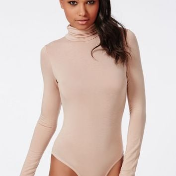 Missguided - Long Sleeve Turtle Neck Bodysuit Nude
