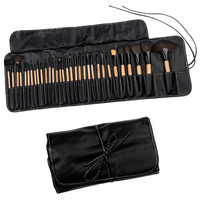 Evelots 32 Piece Cosmetic Makeup Brush Set, Protective Travel Pouch Case, Black