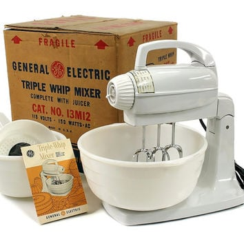NOS Vintage 1954 GE General Electric Triple Whip Mixer / Stand Mixer with Original Bowls, Beaters, Juicer, New Old Stock, Never Used