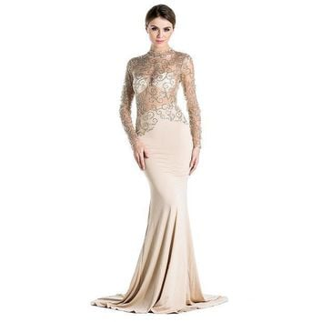 PEAPUNT Free Shipping Missord 2015 Flash sexy halter high-necked long-sleeved maxi dress FT2537-2